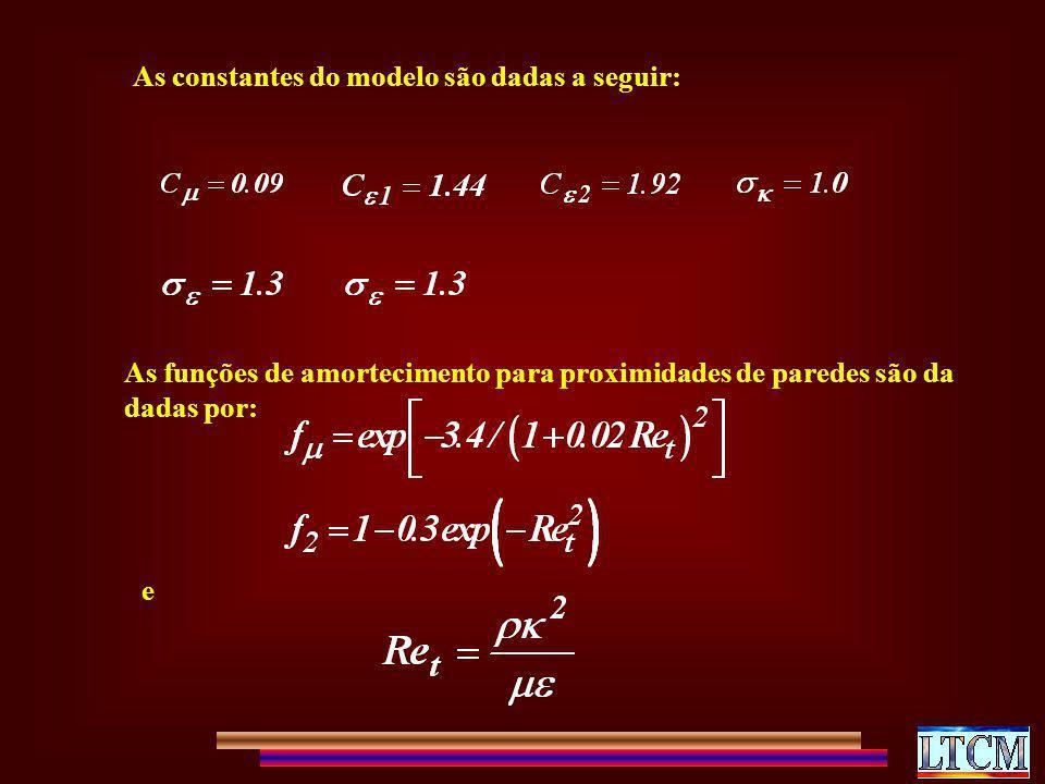 As constantes do modelo são dadas a seguir: As funções de amortecimento para proximidades de paredes são da dadas por: e