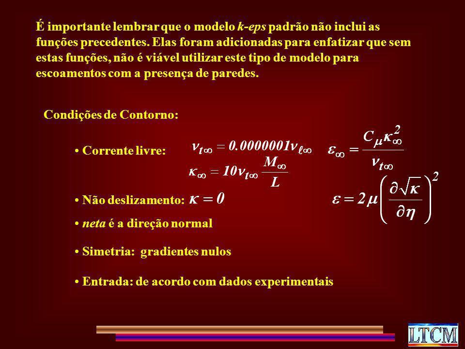 É importante lembrar que o modelo k-eps padrão não inclui as funções precedentes. Elas foram adicionadas para enfatizar que sem estas funções, não é v