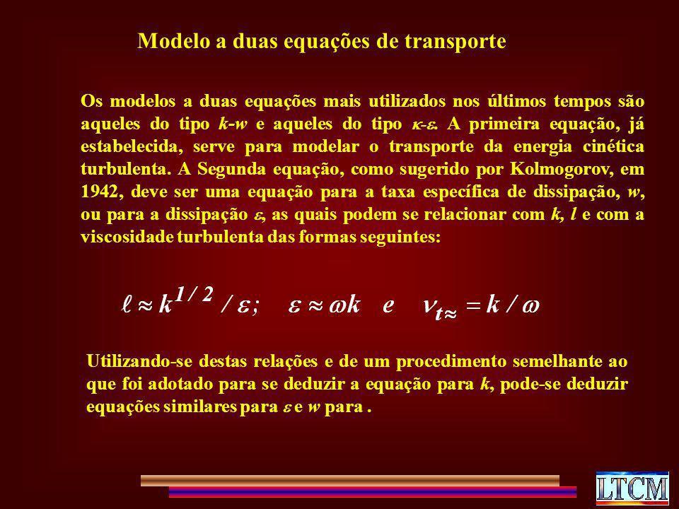 Modelo a duas equações de transporte Os modelos a duas equações mais utilizados nos últimos tempos são aqueles do tipo k-w e aqueles do tipo -. A prim