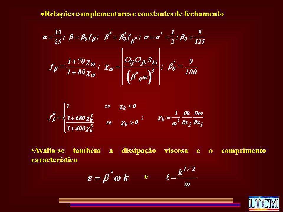 Relações complementares e constantes de fechamento Avalia-se também a dissipação viscosa e o comprimento característico e