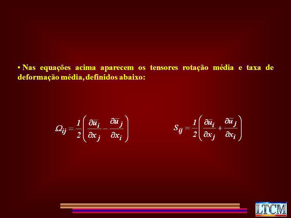Nas equações acima aparecem os tensores rotação média e taxa de deformação média, definidos abaixo:
