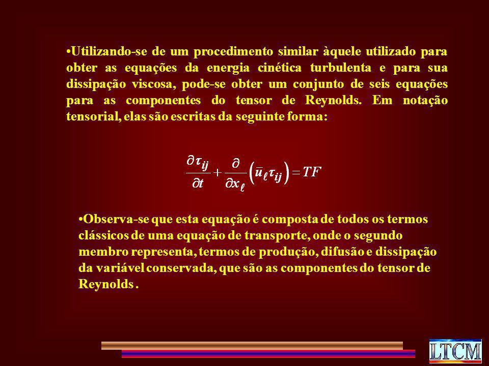 Utilizando-se de um procedimento similar àquele utilizado para obter as equações da energia cinética turbulenta e para sua dissipação viscosa, pode-se