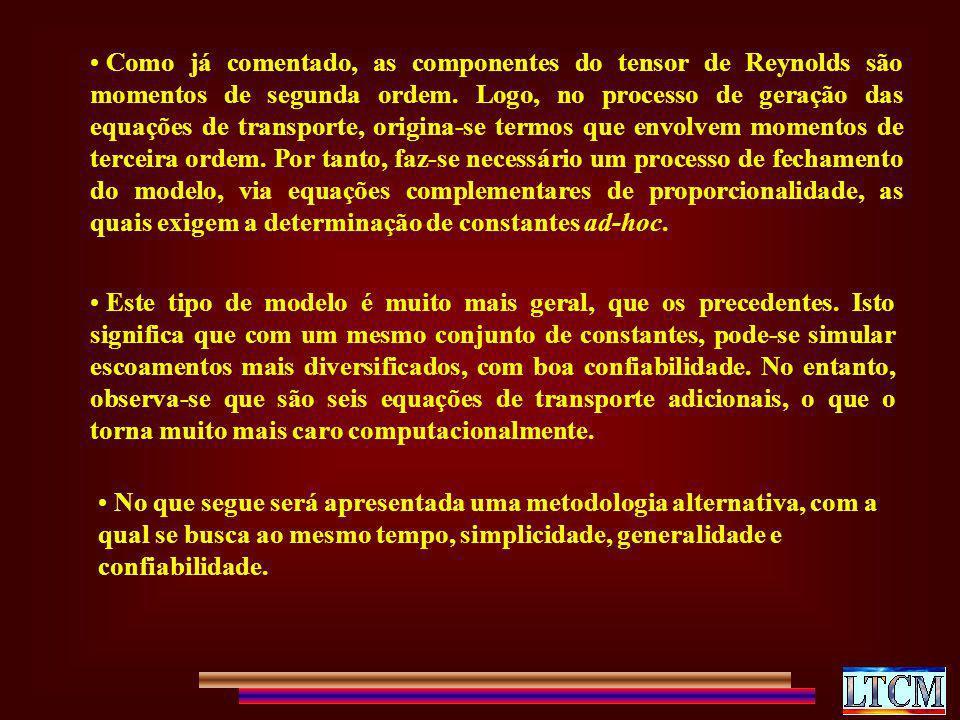 Como já comentado, as componentes do tensor de Reynolds são momentos de segunda ordem. Logo, no processo de geração das equações de transporte, origin