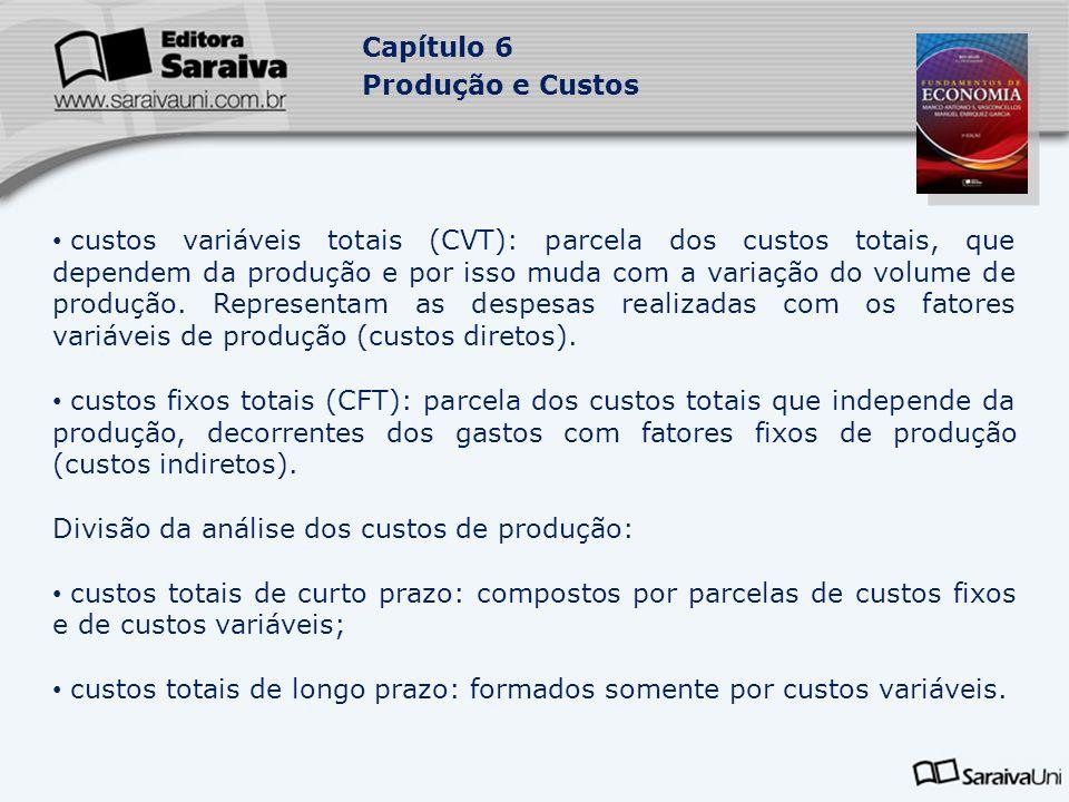 Capítulo 6 Produção e Custos custos variáveis totais (CVT): parcela dos custos totais, que dependem da produção e por isso muda com a variação do volu