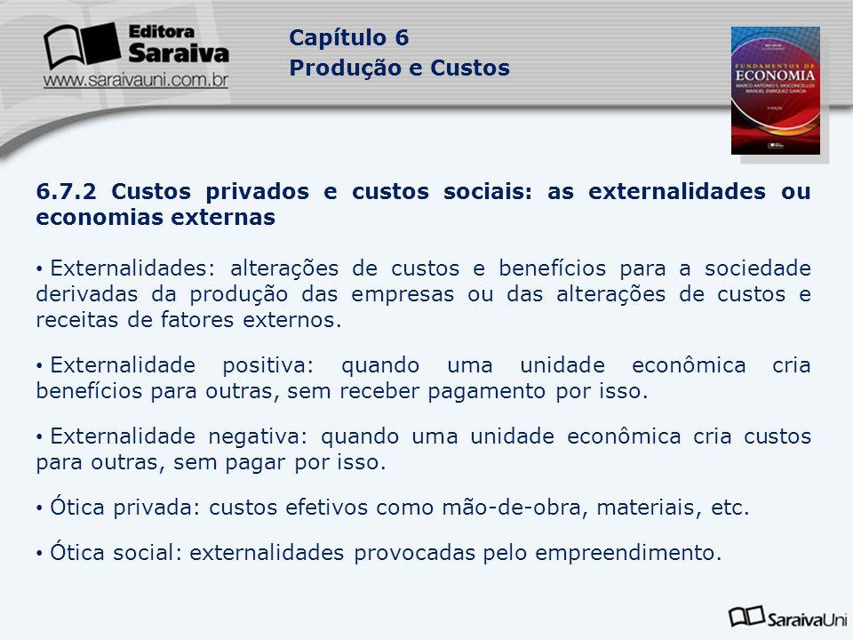 Capítulo 6 Produção e Custos 6.7.2 Custos privados e custos sociais: as externalidades ou economias externas Externalidades: alterações de custos e be