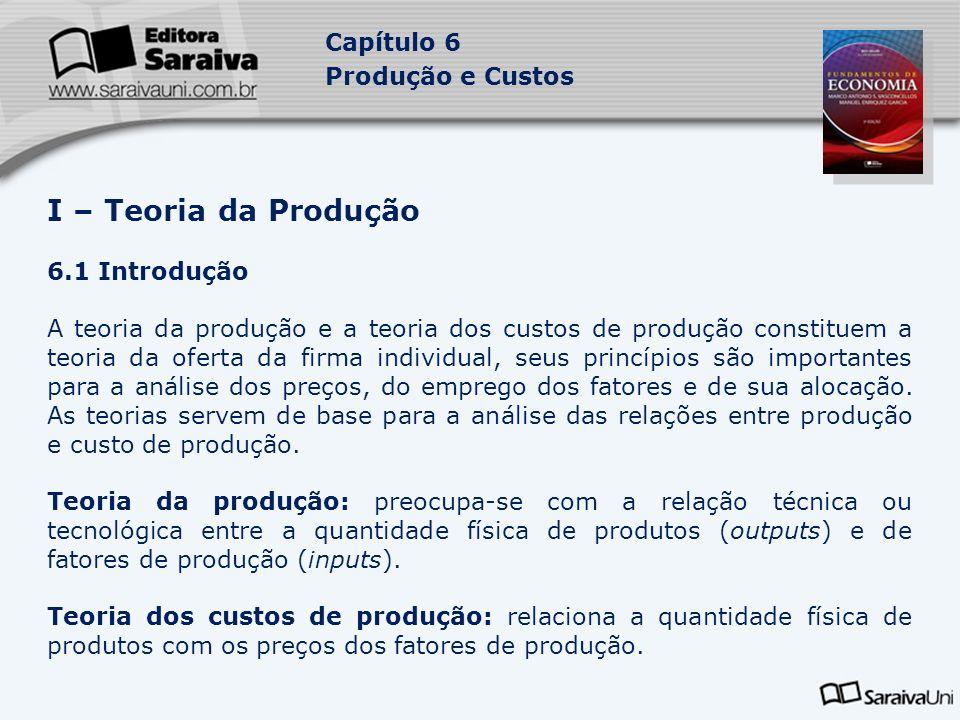 Capítulo 6 Produção e Custos 6.2 Conceitos básicos da teoria da produção 6.2.1 Produção: processo de transformação dos fatores adquiridos pela empresa em produtos para a venda no mercado.
