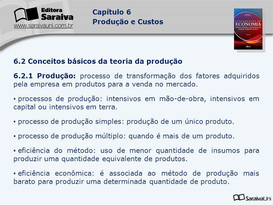 Capítulo 6 Produção e Custos 6.2.2 Função de produção: relação que mostra quantidade física obtida do produto a partir da quantidade física utilizada dos fatores de produção em determinado período de tempo.