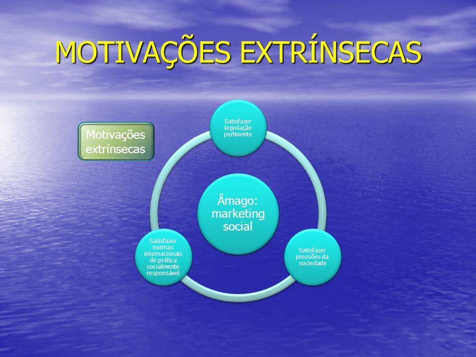 MOTIVAÇÕES EXTRÍNSECAS Âmago: marketing social Satisfazer legislação pertinente Satisfazer pressões da sociedade Satisfazer normas internacionais de p