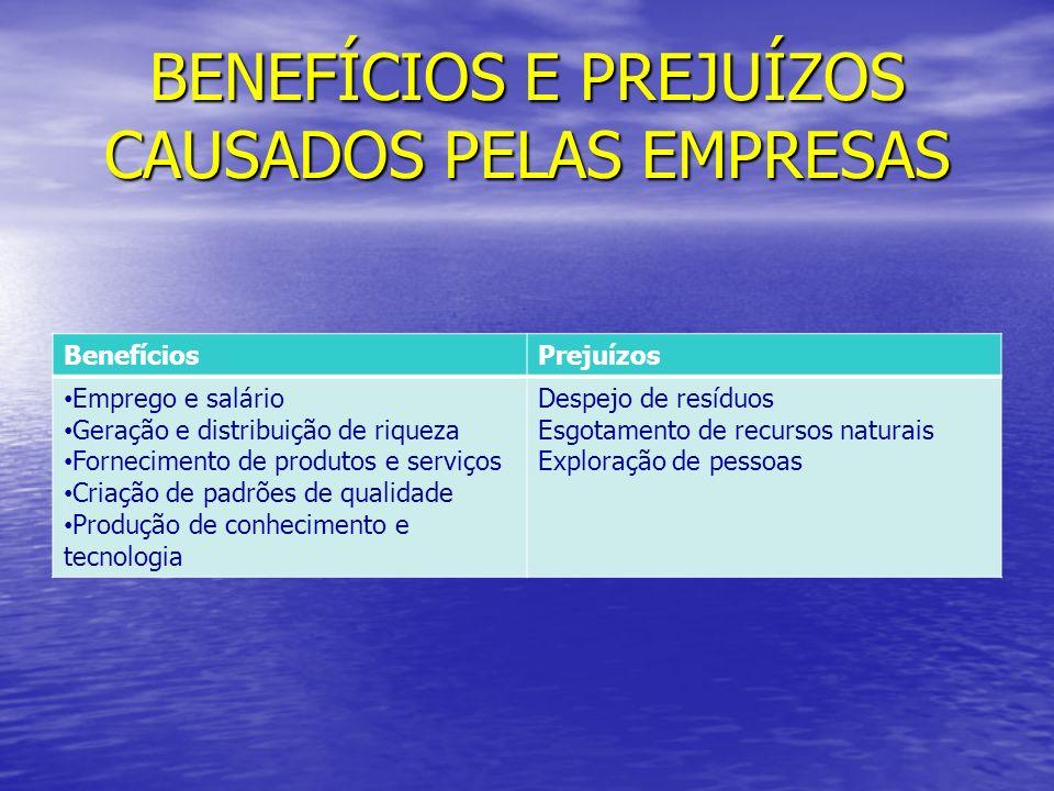 BENEFÍCIOS E PREJUÍZOS CAUSADOS PELAS EMPRESAS BenefíciosPrejuízos Emprego e salário Geração e distribuição de riqueza Fornecimento de produtos e serv