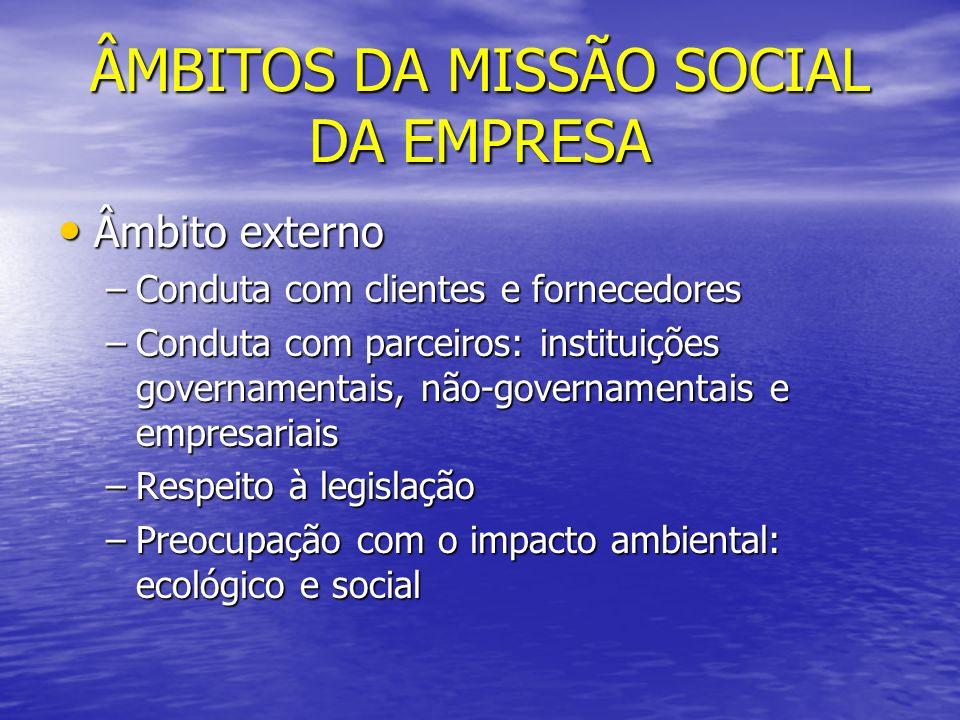 ÂMBITOS DA MISSÃO SOCIAL DA EMPRESA Âmbito externo Âmbito externo –Conduta com clientes e fornecedores –Conduta com parceiros: instituições governamen