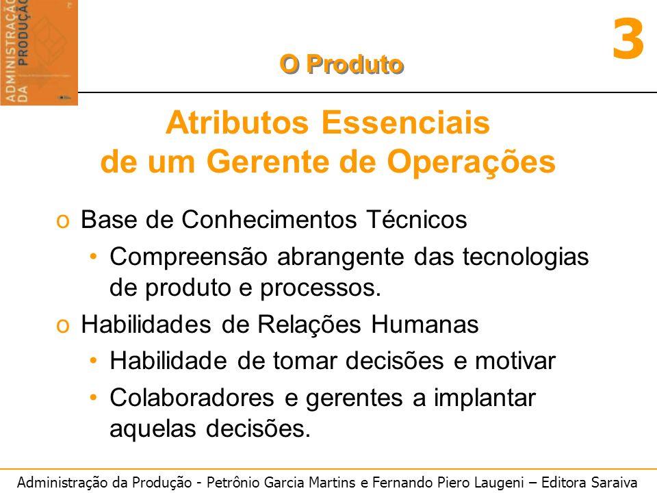 Administração da Produção - Petrônio Garcia Martins e Fernando Piero Laugeni – Editora Saraiva 3 O Produto Atributos Essenciais de um Gerente de Opera
