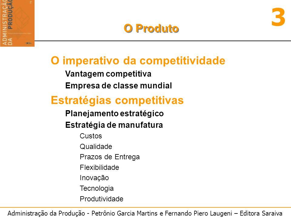 Administração da Produção - Petrônio Garcia Martins e Fernando Piero Laugeni – Editora Saraiva 3 O Produto O imperativo da competitividade Vantagem co