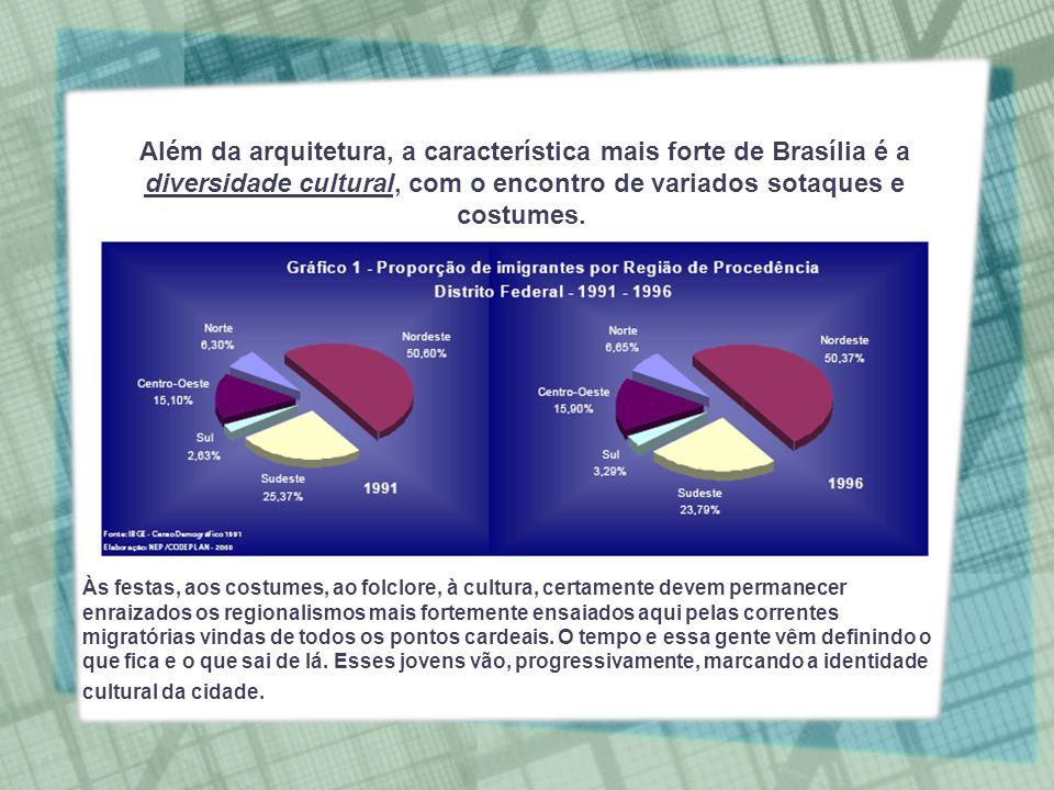 Além da arquitetura, a característica mais forte de Brasília é a diversidade cultural, com o encontro de variados sotaques e costumes.