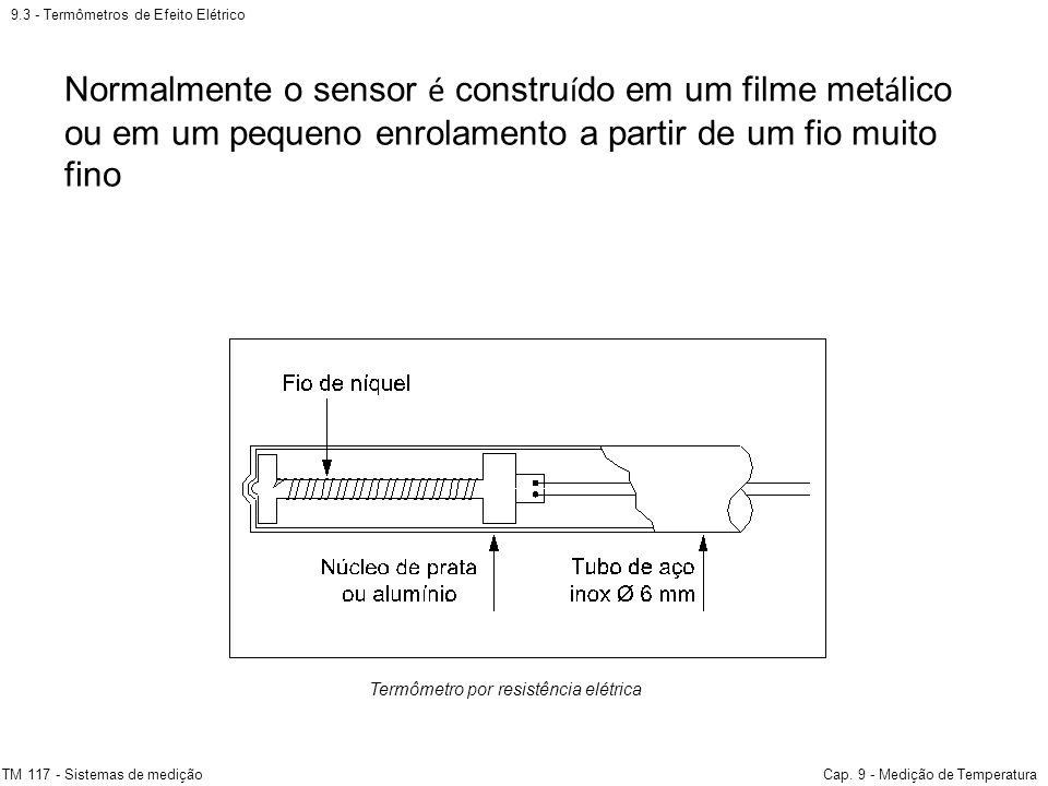 9.3 - Termômetros de Efeito Elétrico TM 117 - Sistemas de mediçãoCap. 9 - Medição de Temperatura Termômetro por resistência elétrica Normalmente o sen