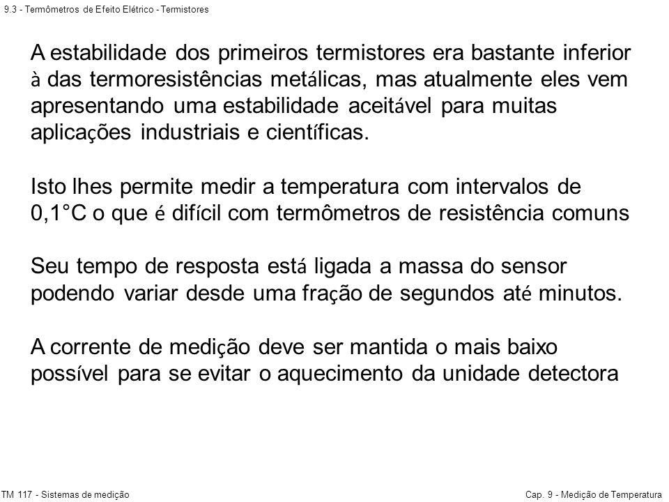 9.3 - Termômetros de Efeito Elétrico - Termistores TM 117 - Sistemas de mediçãoCap. 9 - Medição de Temperatura A estabilidade dos primeiros termistore
