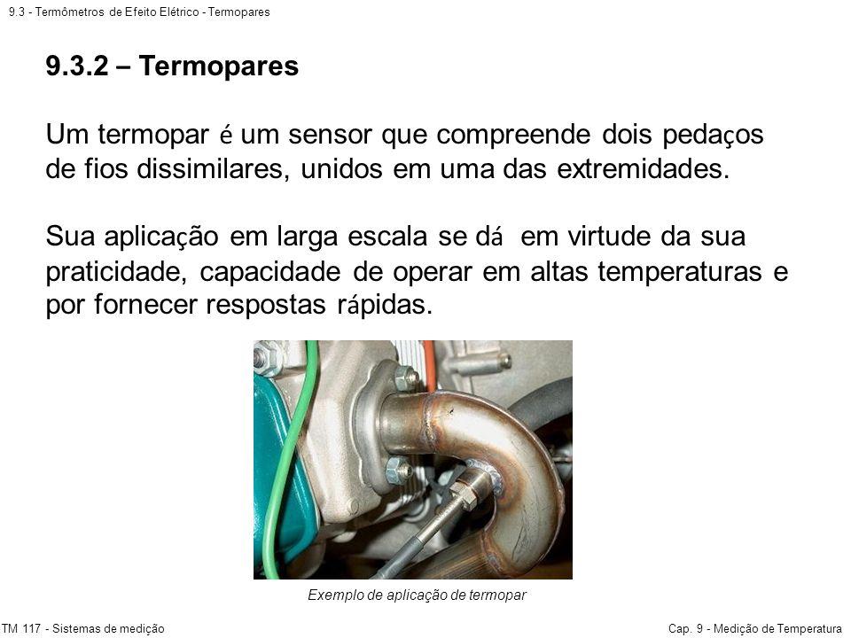 9.3 - Termômetros de Efeito Elétrico - Termopares TM 117 - Sistemas de mediçãoCap. 9 - Medição de Temperatura Exemplo de aplicação de termopar 9.3.2 –