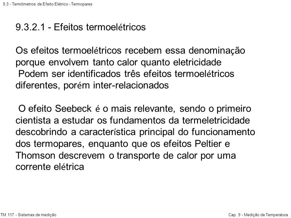 9.3 - Termômetros de Efeito Elétrico - Termopares TM 117 - Sistemas de mediçãoCap. 9 - Medição de Temperatura 9.3.2.1 - Efeitos termoel é tricos Os ef