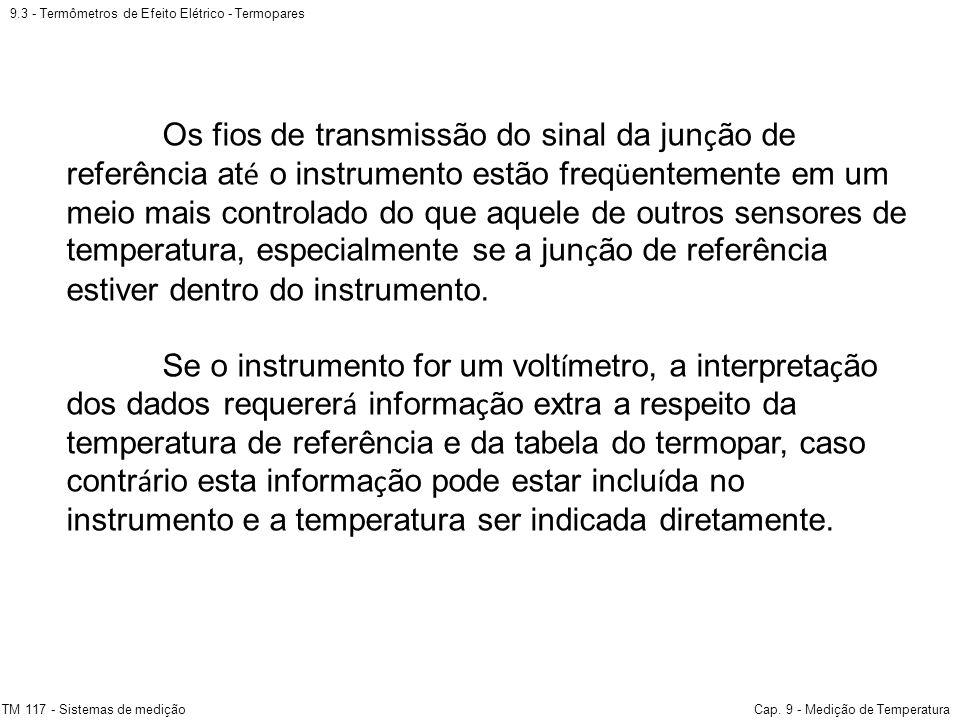 9.3 - Termômetros de Efeito Elétrico - Termopares TM 117 - Sistemas de mediçãoCap. 9 - Medição de Temperatura Os fios de transmissão do sinal da jun ç