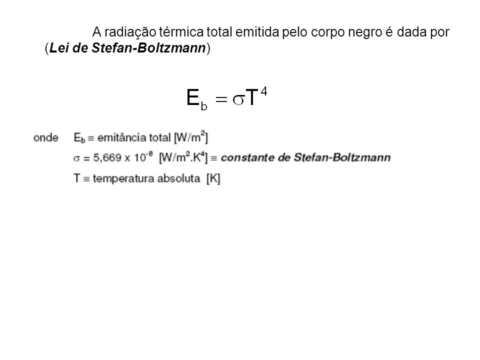 A radiação térmica total emitida pelo corpo negro é dada por (Lei de Stefan-Boltzmann)