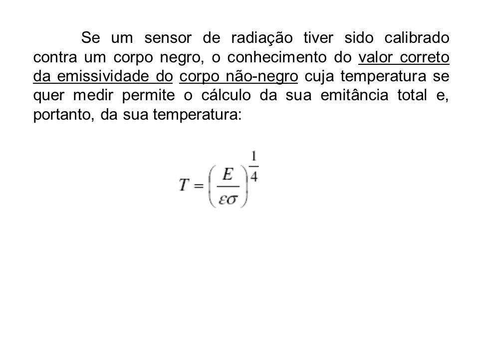 Se um sensor de radiação tiver sido calibrado contra um corpo negro, o conhecimento do valor correto da emissividade do corpo não-negro cuja temperatu
