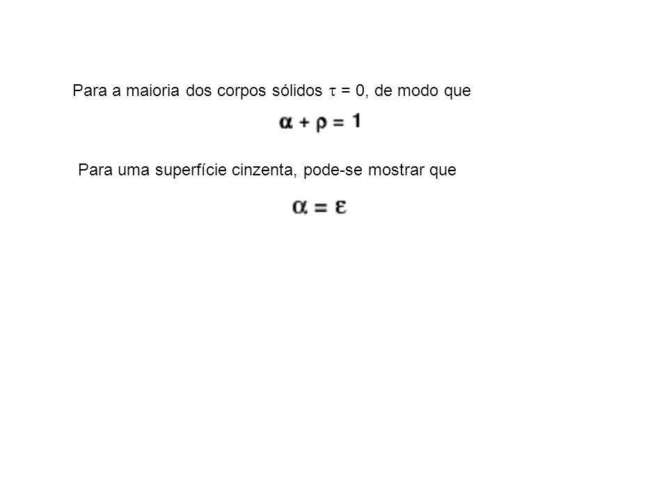 Para a maioria dos corpos sólidos = 0, de modo que Para uma superfície cinzenta, pode-se mostrar que