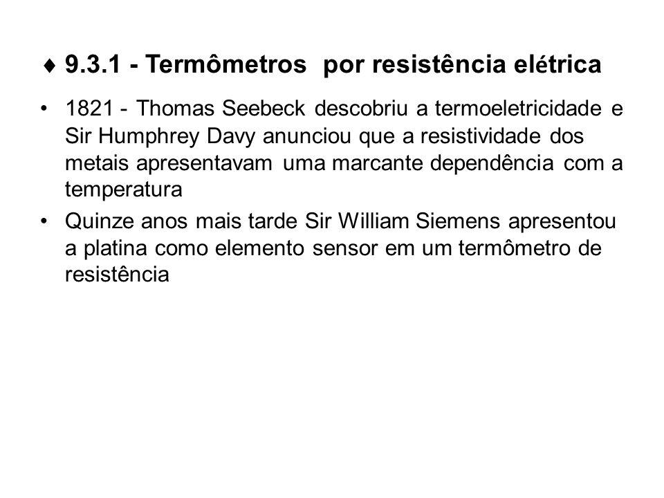 9.3.1 - Termômetros por resistência el é trica 1821 - Thomas Seebeck descobriu a termoeletricidade e Sir Humphrey Davy anunciou que a resistividade do