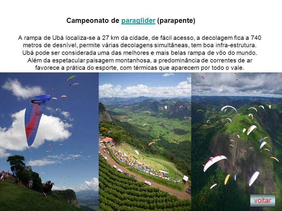 A rampa de Ubá localiza-se a 27 km da cidade, de fácil acesso, a decolagem fica a 740 metros de desnível, permite várias decolagens simultâneas, tem b