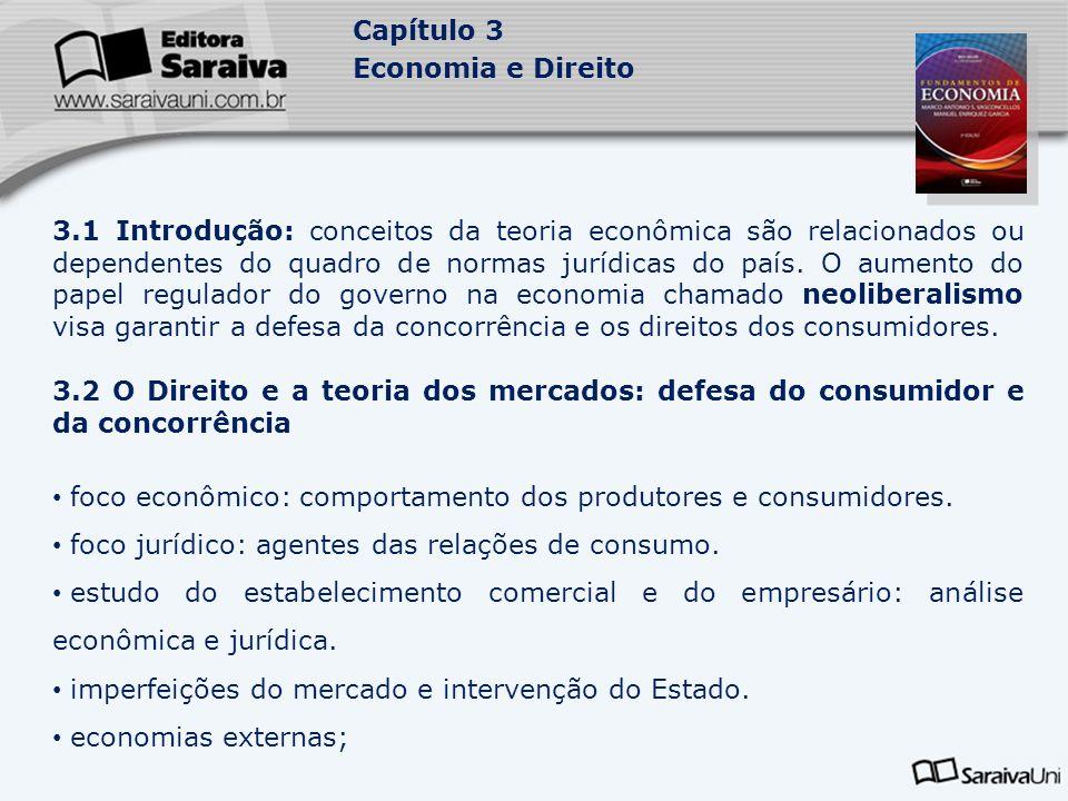 Capítulo 3 Economia e Direito 3.1 Introdução: conceitos da teoria econômica são relacionados ou dependentes do quadro de normas jurídicas do país. O a