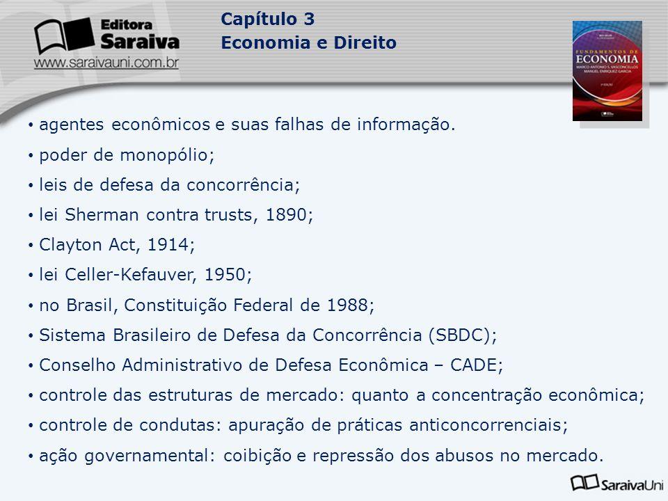 Capítulo 3 Economia e Direito agentes econômicos e suas falhas de informação. poder de monopólio; leis de defesa da concorrência; lei Sherman contra t