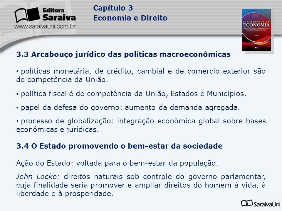 Capítulo 3 Economia e Direito 3.3 Arcabouço jurídico das políticas macroeconômicas políticas monetária, de crédito, cambial e de comércio exterior são