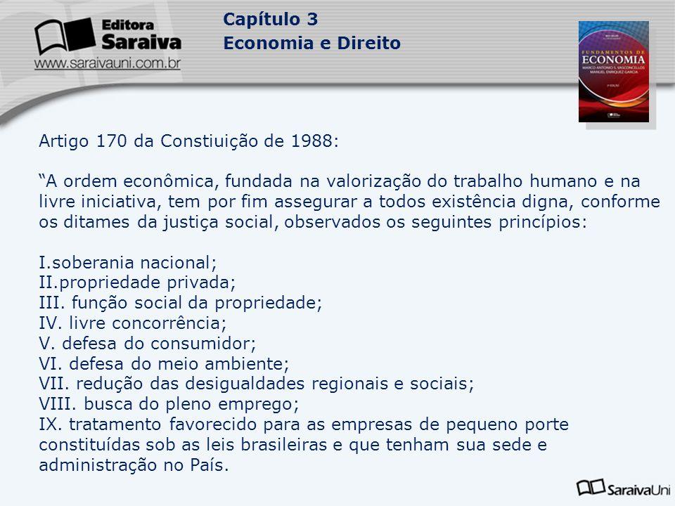 Capítulo 3 Economia e Direito Artigo 170 da Constiuição de 1988: A ordem econômica, fundada na valorização do trabalho humano e na livre iniciativa, t