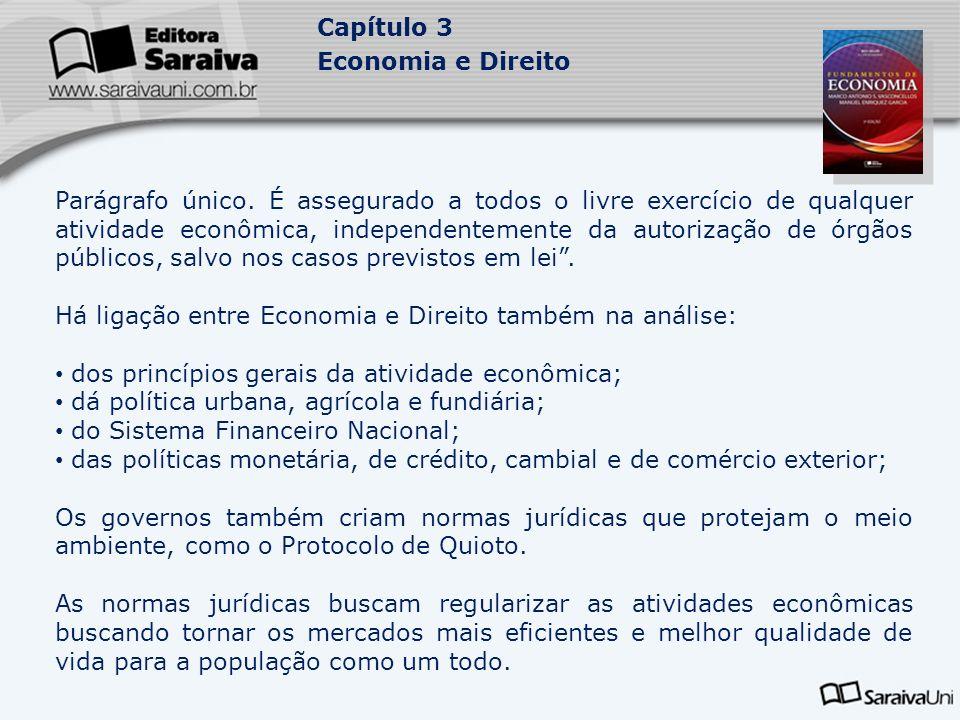 Capítulo 3 Economia e Direito Parágrafo único. É assegurado a todos o livre exercício de qualquer atividade econômica, independentemente da autorizaçã