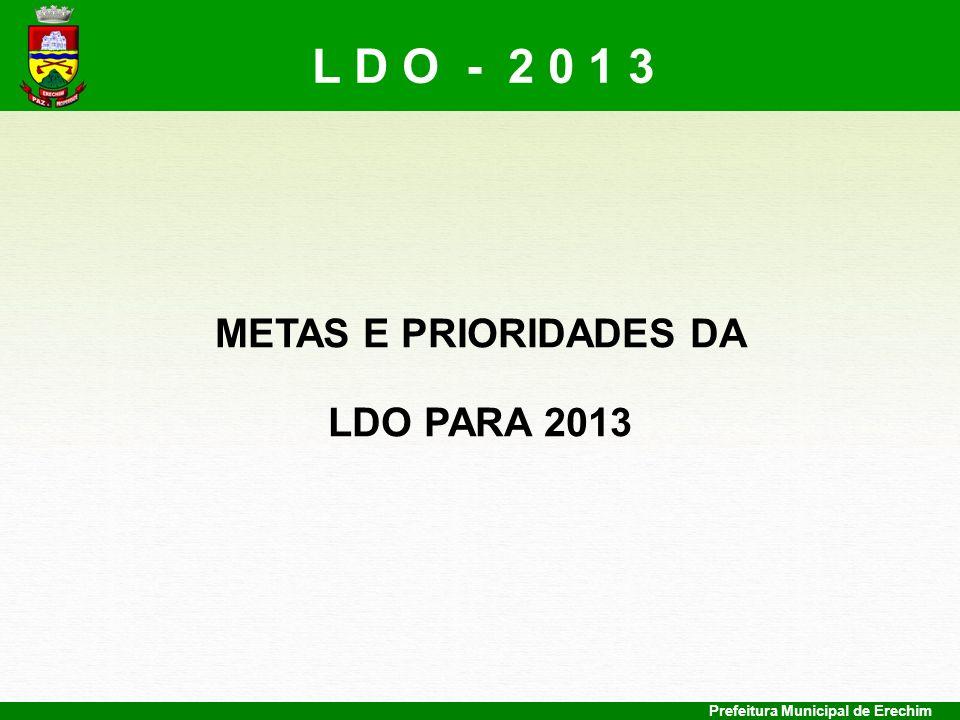 Prefeitura Municipal de Erechim METAS E PRIORIDADES DA LDO PARA 2013 L D O - 2 0 1 3