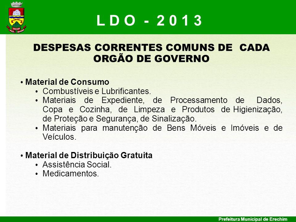 Prefeitura Municipal de Erechim L D O - 2 0 1 3 DESPESAS CORRENTES COMUNS DE CADA ORGÃO DE GOVERNO Material de Consumo Combustíveis e Lubrificantes. M