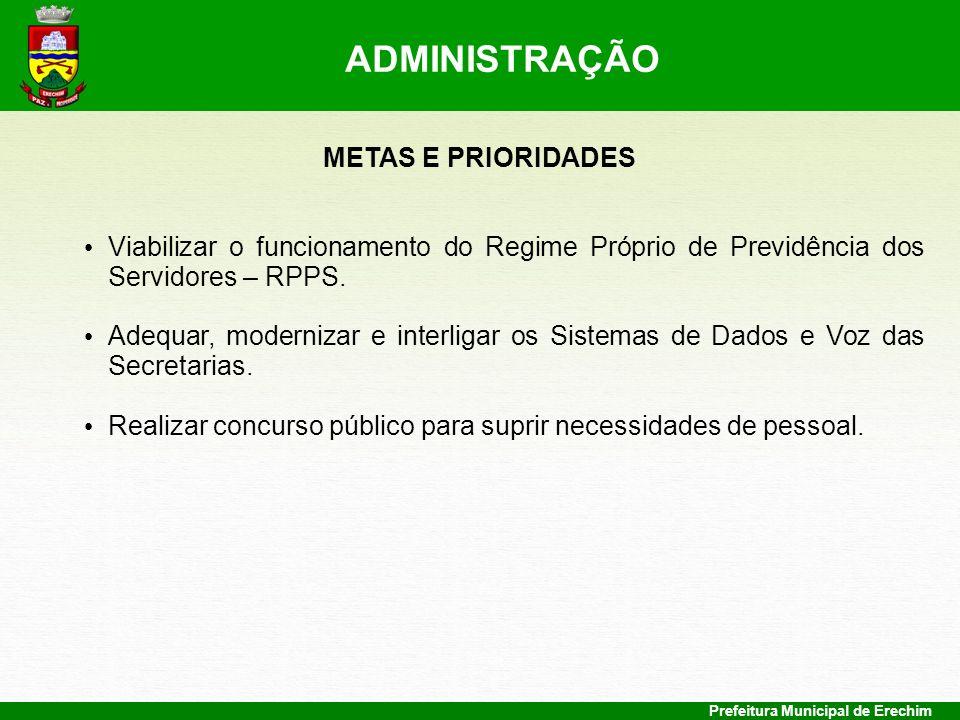 Prefeitura Municipal de Erechim METAS E PRIORIDADES Viabilizar o funcionamento do Regime Próprio de Previdência dos Servidores – RPPS. Adequar, modern