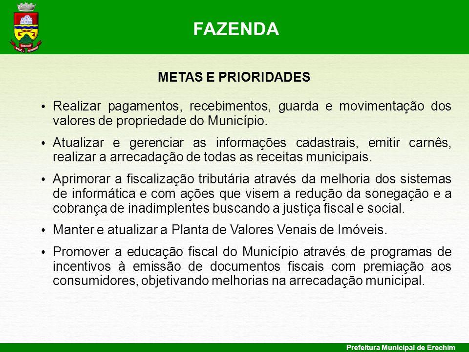 Prefeitura Municipal de Erechim METAS E PRIORIDADES Realizar pagamentos, recebimentos, guarda e movimentação dos valores de propriedade do Município.