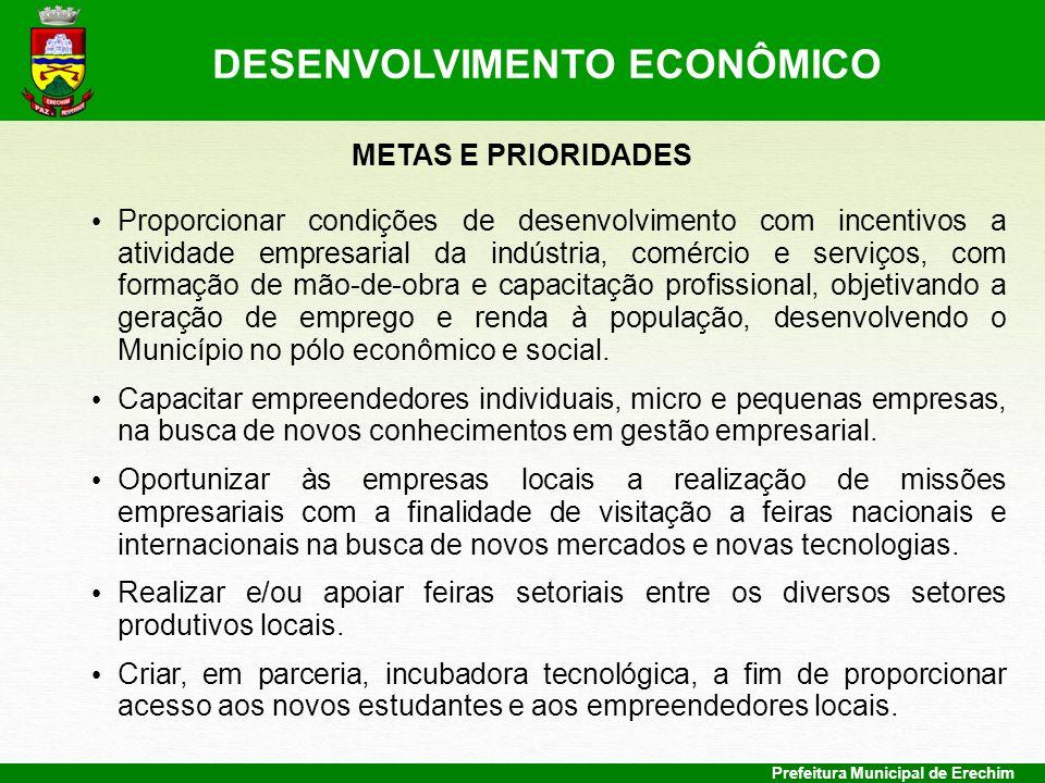 Prefeitura Municipal de Erechim METAS E PRIORIDADES Proporcionar condições de desenvolvimento com incentivos a atividade empresarial da indústria, com