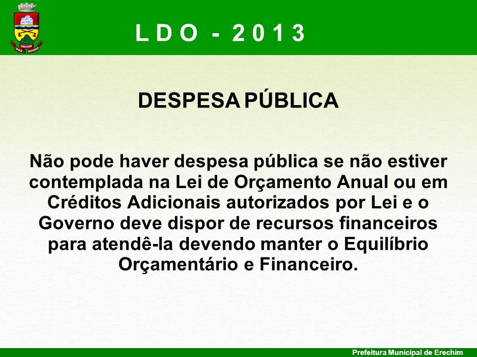 Prefeitura Municipal de Erechim DESPESA PÚBLICA Não pode haver despesa pública se não estiver contemplada na Lei de Orçamento Anual ou em Créditos Adi
