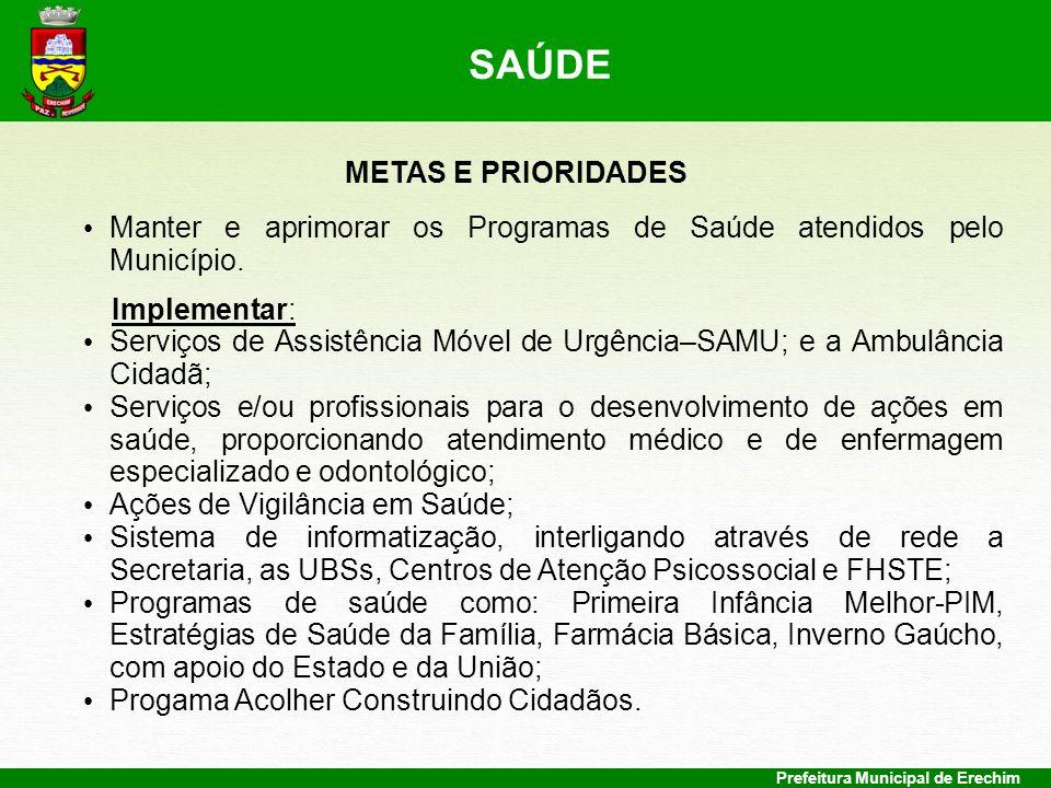 Prefeitura Municipal de Erechim METAS E PRIORIDADES Manter e aprimorar os Programas de Saúde atendidos pelo Município. Implementar: Serviços de Assist