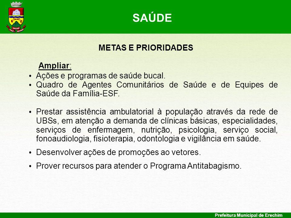 Prefeitura Municipal de Erechim METAS E PRIORIDADES Ampliar: Ações e programas de saúde bucal. Quadro de Agentes Comunitários de Saúde e de Equipes de