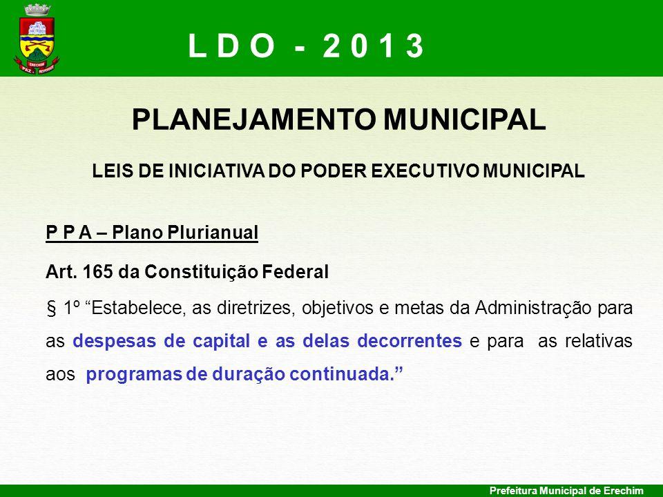 Prefeitura Municipal de Erechim PLANEJAMENTO MUNICIPAL LEIS DE INICIATIVA DO PODER EXECUTIVO MUNICIPAL P P A – Plano Plurianual Art. 165 da Constituiç