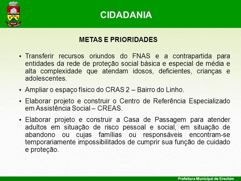 Prefeitura Municipal de Erechim METAS E PRIORIDADES Transferir recursos oriundos do FNAS e a contrapartida para entidades da rede de proteção social b