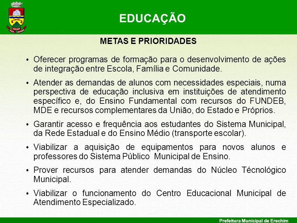 Prefeitura Municipal de Erechim METAS E PRIORIDADES Oferecer programas de formação para o desenvolvimento de ações de integração entre Escola, Família