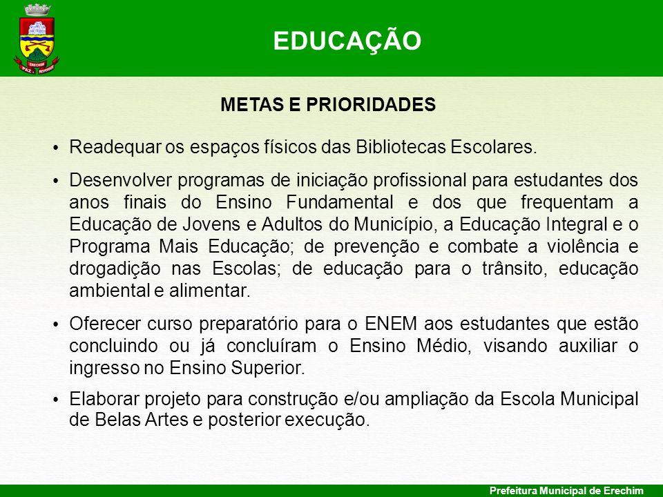 Prefeitura Municipal de Erechim METAS E PRIORIDADES Readequar os espaços físicos das Bibliotecas Escolares. Desenvolver programas de iniciação profiss
