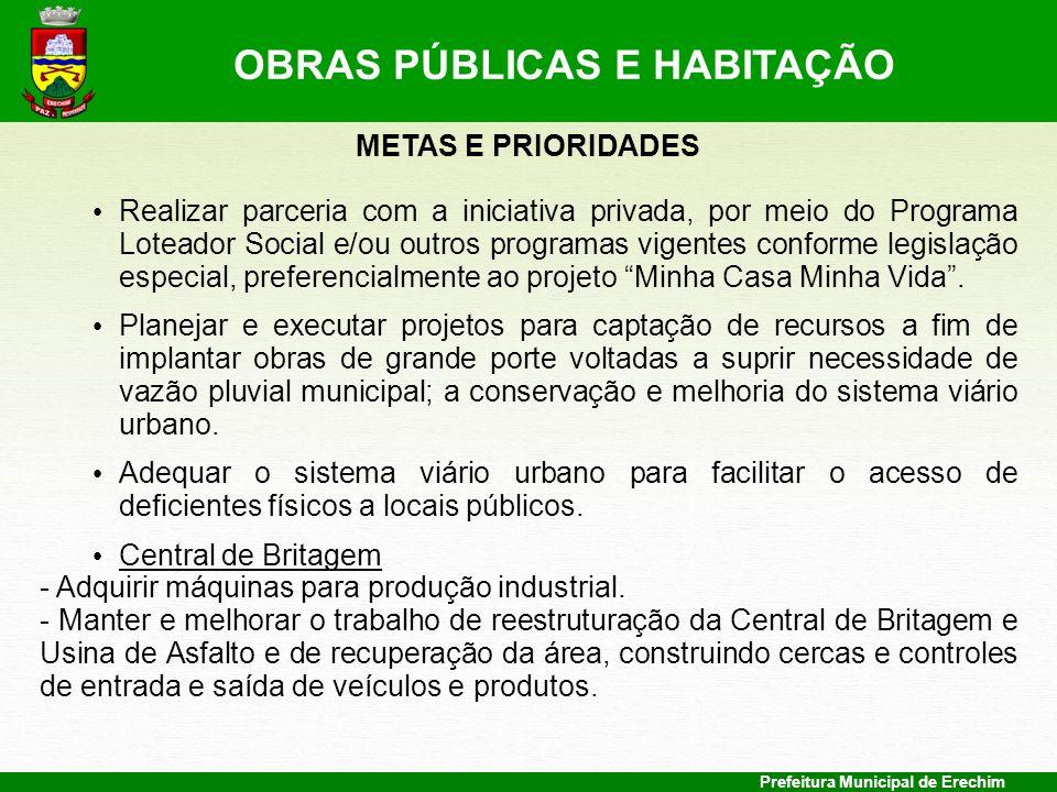 Prefeitura Municipal de Erechim METAS E PRIORIDADES Realizar parceria com a iniciativa privada, por meio do Programa Loteador Social e/ou outros progr