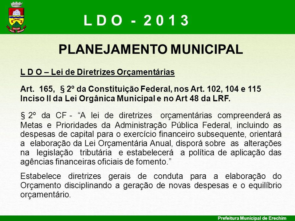 Prefeitura Municipal de Erechim DIRETRIZES PARA O ORÇAMENTO DE 2013 L O A – Lei Orçamentária Anual Leva em conta o PPA e a LDO, com validade para um Exercício.