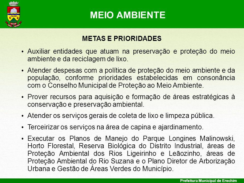 Prefeitura Municipal de Erechim METAS E PRIORIDADES Auxiliar entidades que atuam na preservação e proteção do meio ambiente e da reciclagem de lixo. A