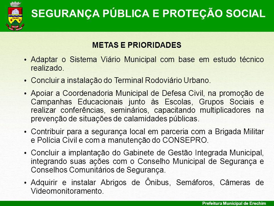 Prefeitura Municipal de Erechim METAS E PRIORIDADES Adaptar o Sistema Viário Municipal com base em estudo técnico realizado. Concluir a instalação do