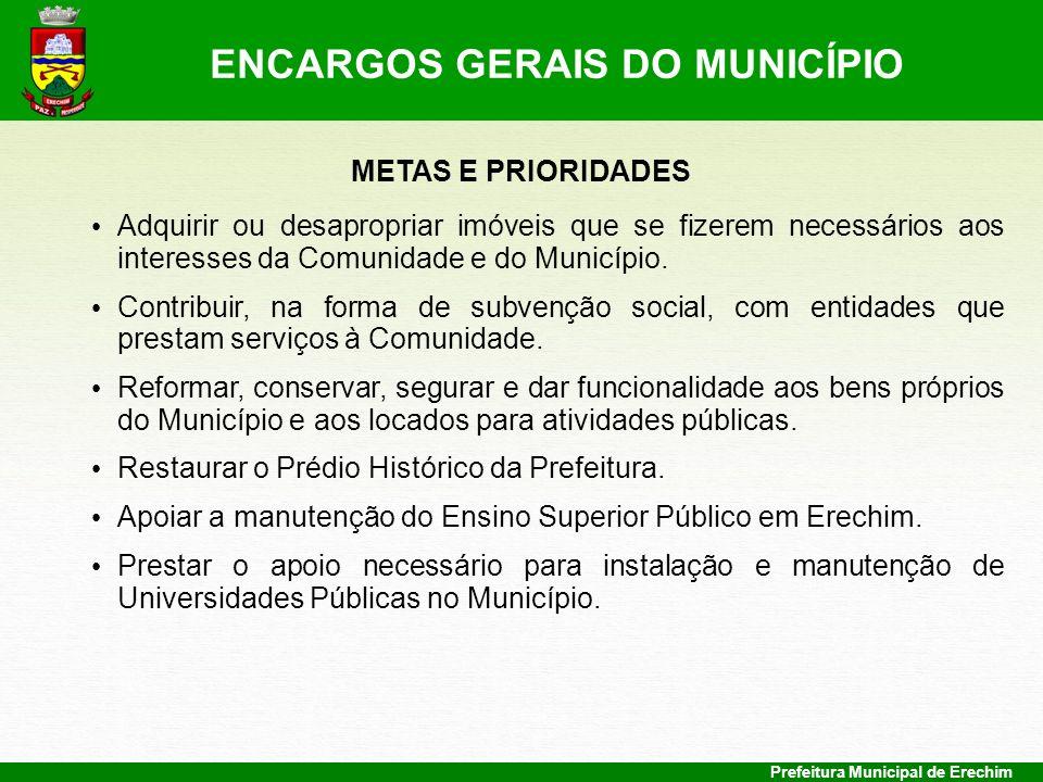Prefeitura Municipal de Erechim METAS E PRIORIDADES Adquirir ou desapropriar imóveis que se fizerem necessários aos interesses da Comunidade e do Muni
