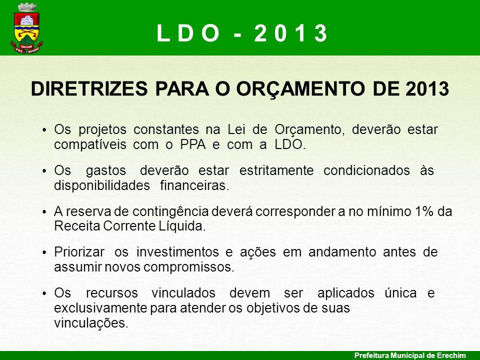Prefeitura Municipal de Erechim DIRETRIZES PARA O ORÇAMENTO DE 2013 Os projetos constantes na Lei de Orçamento, deverão estar compatíveis com o PPA e